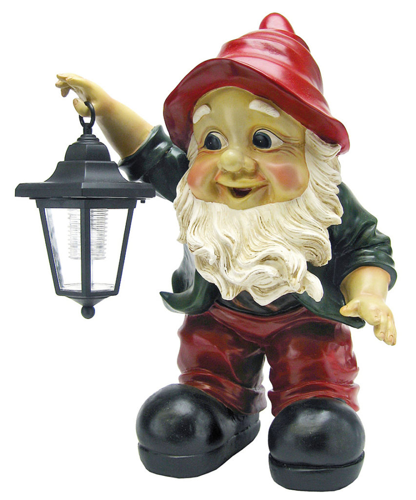 Edison with the Lighted Lantern Garden Gnome Statue, Item#QL30314