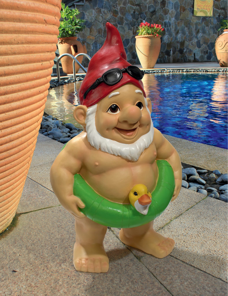 Pool Party Pete Naked Gnome Statue, Item#QM16035
