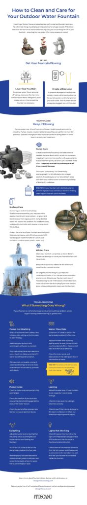 How to Clean and Care for your Outdoor Water Fountain