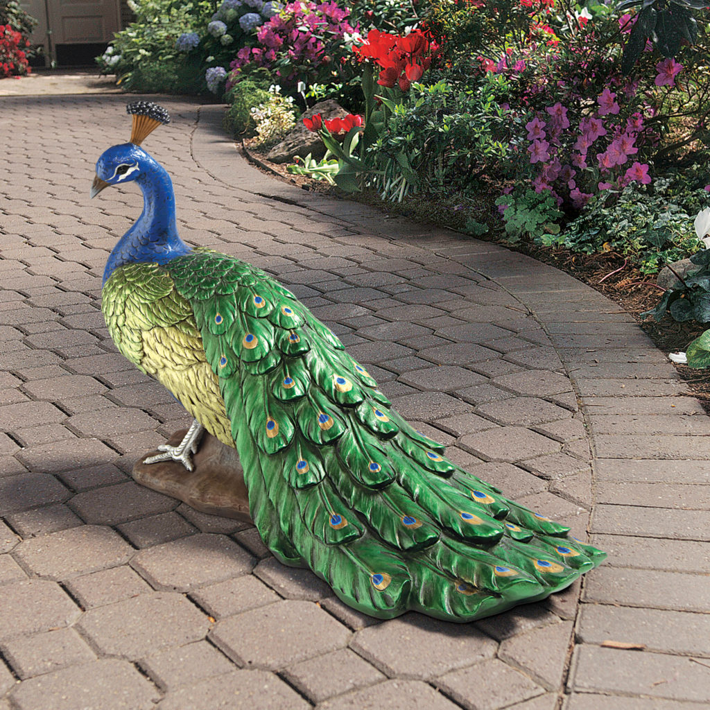 Regal Peacock Sculptural Garden Statue
