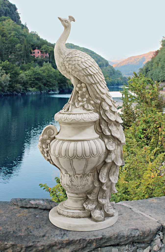 Staverden Castle Peacock on an Urn garden sculpture