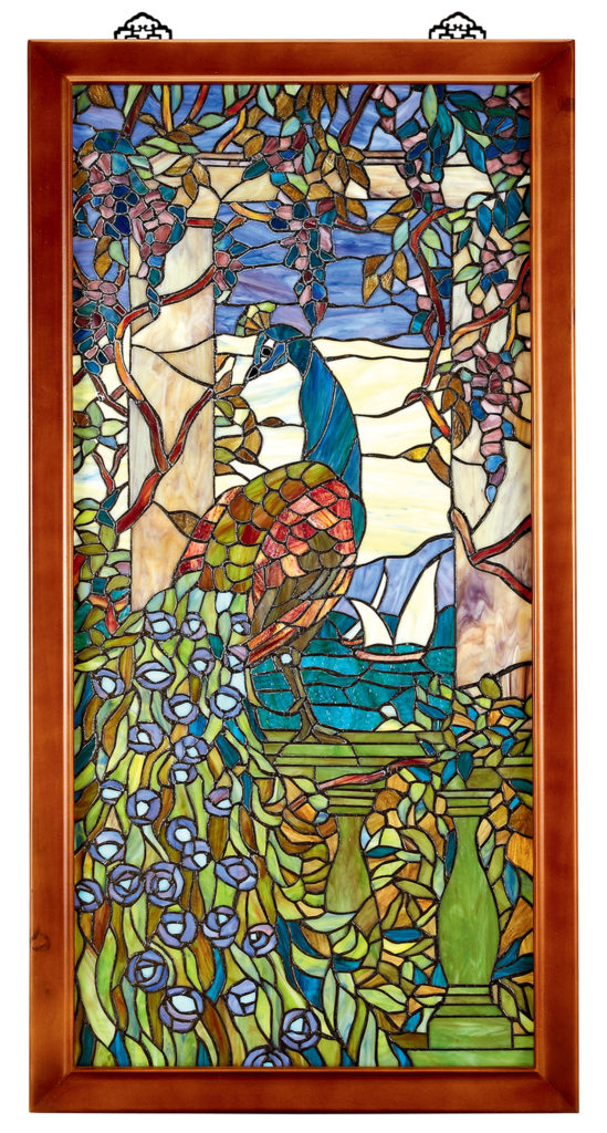 Peacock and Wisteria Stained-Glass Window