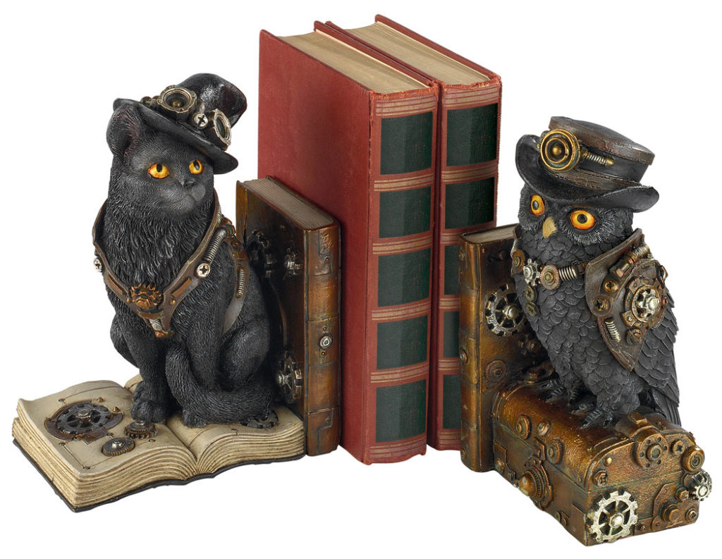 Knowledge Seekers Steampunk Cat and Owl Sculpture Bookends