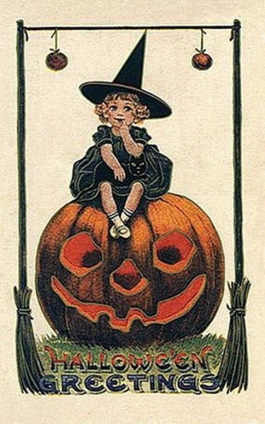 postcard of girl sitting on a pumpkin