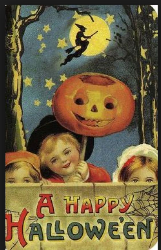 vintage postcard with trick or treaters on it