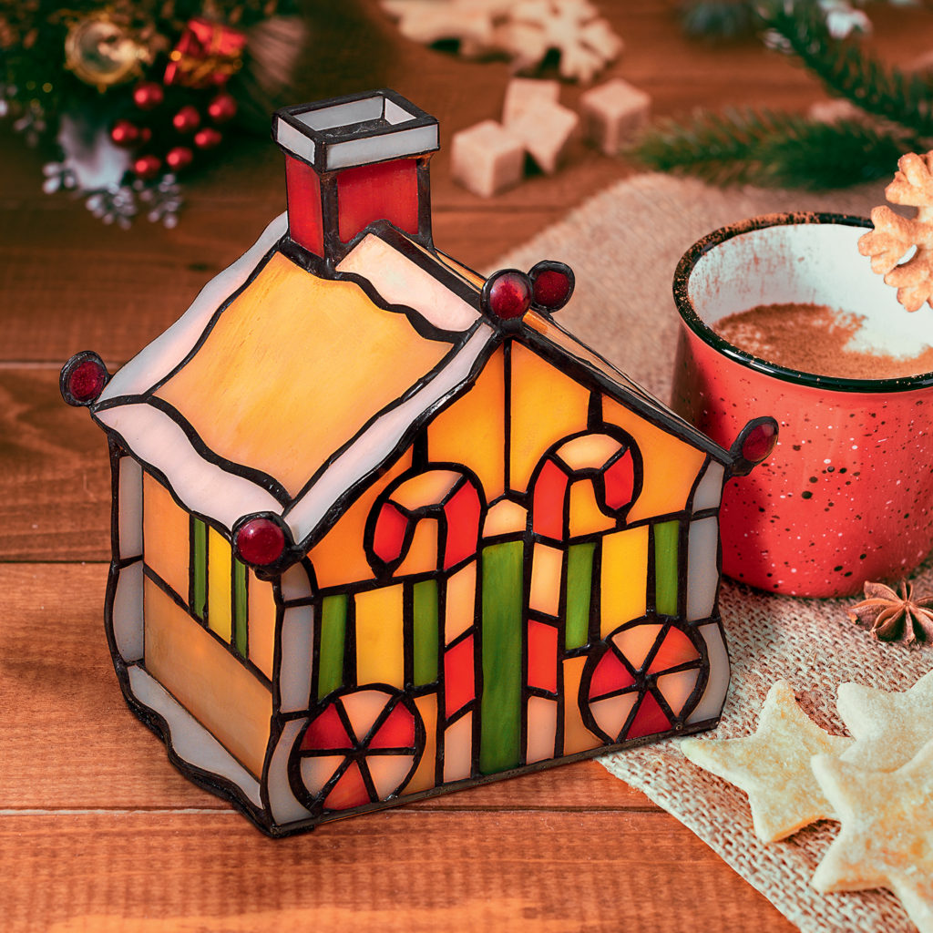 Christmas Gingerbread House Stained Glass Lamp Illuminated Sculpture (TF10048)